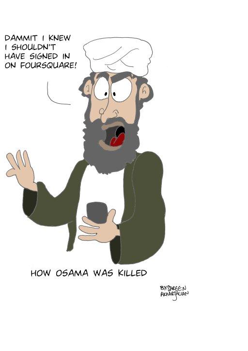 """رسم كاريكاتوري لـ""""سارين اخارجاليان"""" تتهكم فيه على طريقة التي تم العثور على بن لادن"""